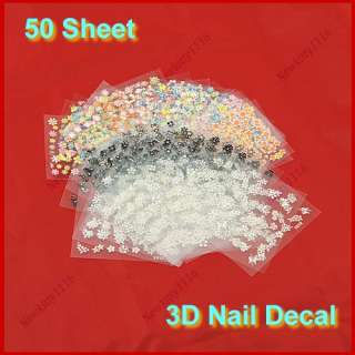 50pcs Different 3D Nail Art Design Stickers Sheet Decal