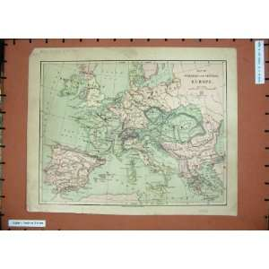 Antique Maps 1878 ope Britain France Spain Austria Home & Kitchen