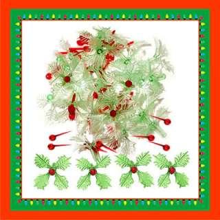CERAMIC CHRISTMAS TREE LIGHTS 25 GREEN HOLLY LEAF BULBS