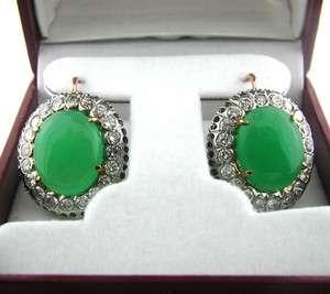ESTATE 14k Rose & White Gold Jade Fashion Earrings