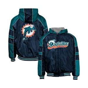 Miami Dolphins Navy Blue Reversible Full Zip Hoody Jacket