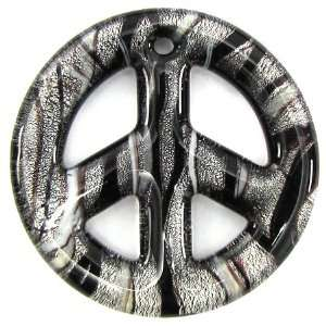 50mm lampwork glass peace sign coin pendant black