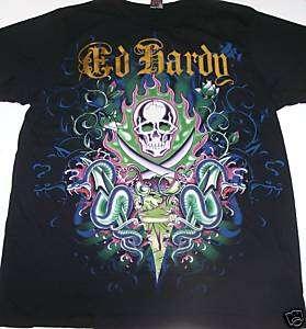 Ed Hardy Black Two Swords Skull Snake T Shirt Foil 2XL