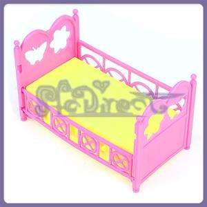 Crib Bed Furniture For Kelly Barbie Doll Yellow Pink