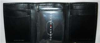 Hilfiger Mens Black Leather Trifold Wallet Logo Flag NIB NWT