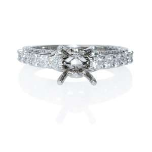 Diamond Antique 18k White Gold Engagement Ring Setting Jewelry