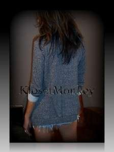 SEXY SPORT HEATHER GRAY FLEECE FLYAWAY OPEN CARDIGAN SWEATER KNIT TOP