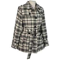 Cecil Gee Womens Plus Size Zebra Tweed Wool Blend Belted Jacket