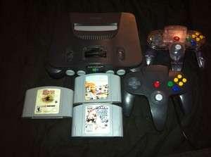 Nintendo 64 Smoke Grey Console W/3 Games, 2 Controllers 045496850241