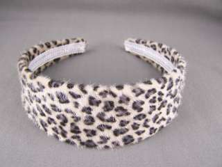 Cheetah leopard big cat wild animal print faux fur headband 1.75 wide