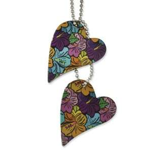 Stainless Steel Plumeria Color Heart Pendant 24in Necklace