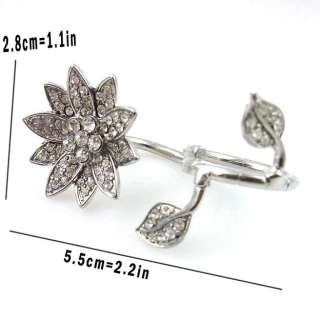 Silver Crystal Lotus Water Lily Flower Two Double Ring