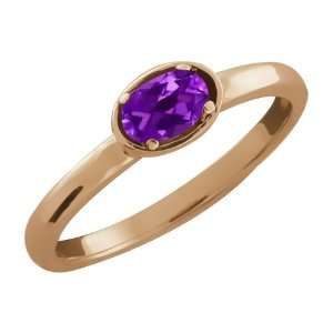 0.20 Ct Oval Purple Amethyst 14k Rose Gold Ring Jewelry