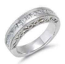 ct. t.w. Princess Cut Diamond Filigree Wedding Band (H I, SI2)   Sam
