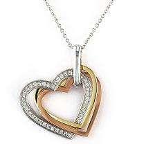 18 ct. t.w. Three Heart Diamond Pendant in 14K Tri Color Gold (H I