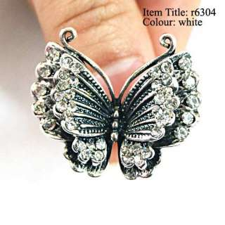 Tibetan Silver Tone Butterfly Gems Diamante CZ Adjustable Cocktail
