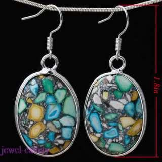 howlite turquoise oval green bead gem dangle earrings