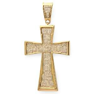 Plated Sterling Silver Micro Pave Diamond Mens Hip Hop Religious Cross