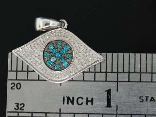 GOLD .45 CT BLUE DIAMOND EVIL EYE PENDANT CHARM FOR NECKLACE