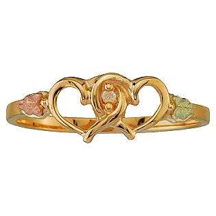 Black Hills Gold Tricolor 10K Gold Ladies Double Heart Diamond Accent