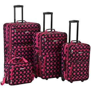 Fashion Expandable 4 Piece Luggage Set   Black Pink Dot