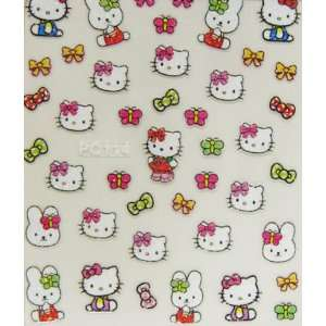 XH butterfly bow 3D hello kitty nail stickers decals