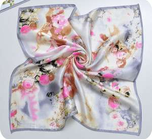 New Women Floral Oil Painting Style 100% Silk Square Scarf Gray