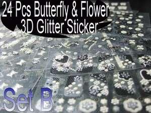 300+ Design Nail Glitter 3D Sticker Decal Black &White Style 24Sheets
