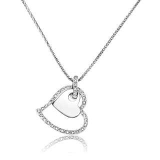 22ctw 14K WG ROUND DIAMOND DOUBLE HEART SHAPE PENDANT