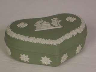 Wedgwood Jasperware Green Heart Shaped Trinket Box Used