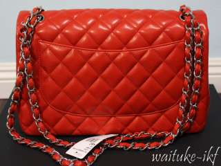 BNIB CHANEL FLAP BAG CLASSIC JUMBO RED ORANGE LIPSICK SILVER HARDWARE
