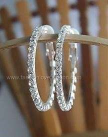 Clip On Rhinestone Hoop Earrings