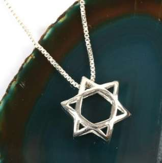 Silver 3D Jewish Star of David Magen Pendant Necklace