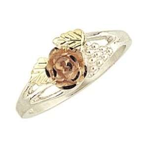 cut Black Hills Gold & Sterling Silver Rose Bud Womens Ring Jewelry