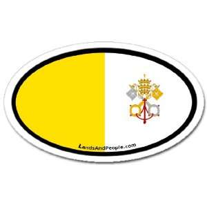 Vatican Roman Catholic Flag Car Bumper Sticker Decal Oval