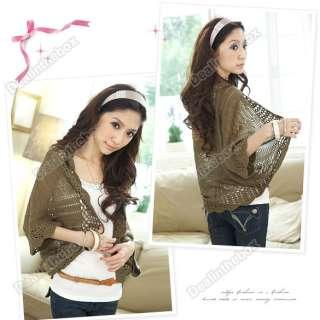 Korea Women Hollow Shawl Shrug Cardigan Knit Coat Shrug Jacket Sweater