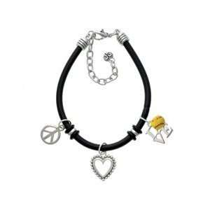Silver Love with Softball Black Peace Love Charm Bracelet
