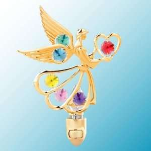 Angel w/Heart 24k Gold/Mixed Crystal Night Light Baby
