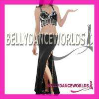 BELLY DANCE COSTUME SET BRA TOP SKIRT GOLD SEQUINS SEXY SLIT BOLLYWOOD