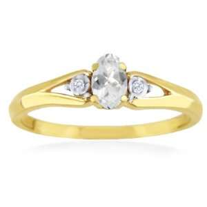 APRIL Birthstone Ring 14k Yellow Gold White Topaz Ring Jewelry
