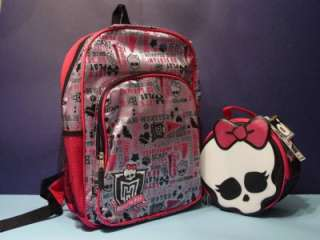 New PINK MONSTER HIGH BACKPACK & SKULL LUNCH BOX SET