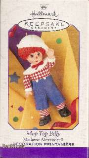 Mop Top Billy Raggedy Ann Andy doll Madame Alexander XMAS Ornament NEW
