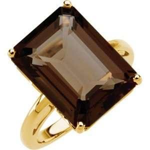 14K Yellow Gold Smoky Quartz Ring Jewelry