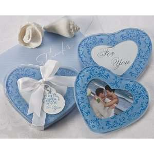True in Blue Heart Glass Photo Coasters (Set of 2)