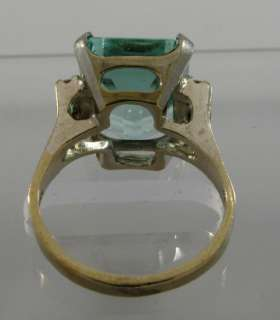 Magnificent 9C Aquamarine 14k White Gold 4 Diamond Ring