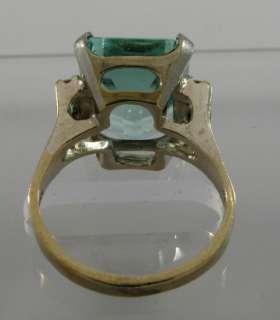 Magnificent 9C Aquamarine 14k White Gold 4 Diamond Ring