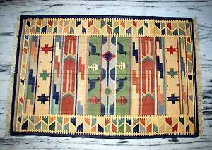 Vintage Yoga Cotton Rug Carpet Indian Dhurrie 6 X 4