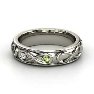 Infinite Love Ring, 14K White Gold Ring with Green Tourmaline