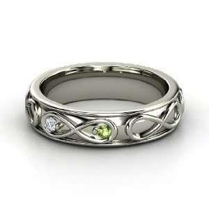 Infinite Love Ring, 14K White Gold Ring with Green Tourmaline