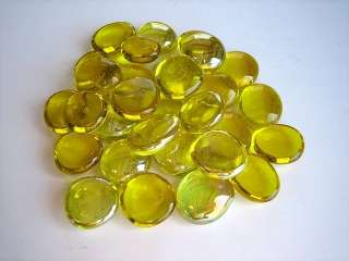 30  YELLOW Clear Glass Artwork Stones Marbles Craft Work